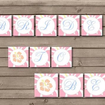 Peach and Pink Hawaiian Bride to Be Printable Bridal Shower Banner: INSTANT DOWNLOAD