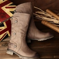 Women'S Leather Boots Retro Tall Comfortable Walking
