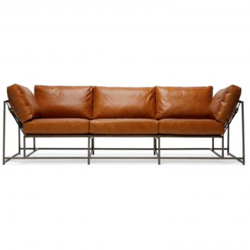 ENCOUNTER LEATHER SOFA - BROWN LEATHER & ANTIQUE BRASS