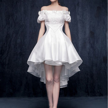Real Photo White Original Design Elegant Cocktail Dress 2016 Off The Shoulder Sweet 16 Years Party Gowns Short Dresses 160412