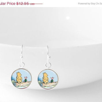 ON SALE Winnie the Pooh and Piglet Dangle Pendant Earrings Silver Jewelry