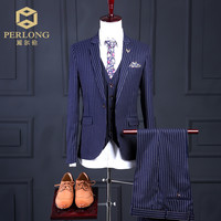 Men's Navy Striped 3 Piece Wedding Groom Slim Fitted Dress Suit
