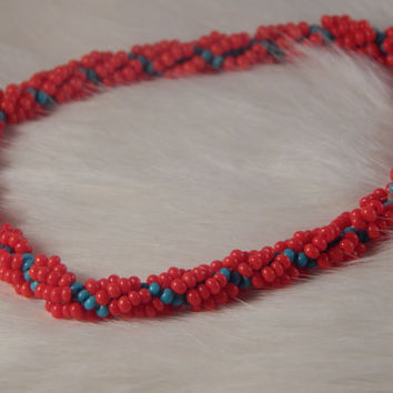 Red Blue Spiral Stitched Bracelet - Handbeaded jewelry with seed beads - slip on no link arm candy - Native American Inspired, handmade