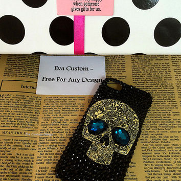 Bling iphone 5/5S/5C case, , Bling iPhone 4s Case, iPhone 5S Bling Case,Crystal Samsung Galaxy S3/S4/S5 case,Rhinestone Skull Case 154