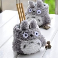 Ning-store My Neighbor Totoro Pen Holder Creative Totoro Plush Pencil Container Adorable Desktop Decoration Good Gifts & Crafts