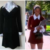 90s Black Velvet Mini Dress, White Satin Cuffs & Collar, Clueless Dionne Davenport Style! Witchy Goth Style!