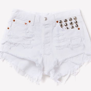 450 White Studded Cheeky Shorts