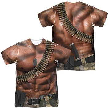 Six Pack Abs with Bullets Costume T-shirt Front & Back