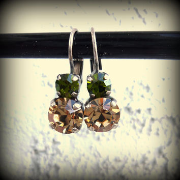 Swarovski crystal earrings, two stone drop lever-backs, topaz and green, not sabika but just as sparkly