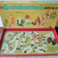 Magnetic Board Game To Grandmothers House we go, 1960s travel spinner