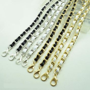Hight quality leather handle  purse strap bag hardware handbag chain bag parts bag strap chain bag chain belt