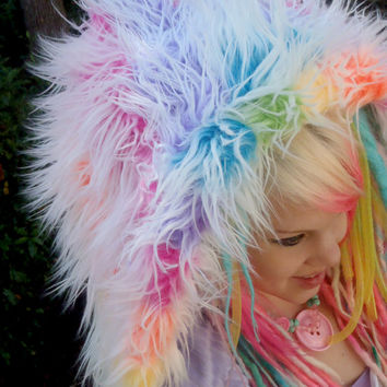 Pastel Rainbow Swirl Med Size Fur Hood- Scoodie- Frosted Unicorn Cupcakes- Pastel Rainbow, Frosted Fur, UV Reactive