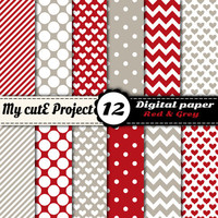 Grey and red - DIGITAL PAPER - Instant Download - chevron pattern, stripes, polka dots, heart - Scrapbooking, graphic design - A4 & 12x12