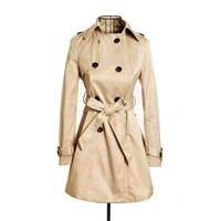 Womens Double Breasted Belted Coat (M)