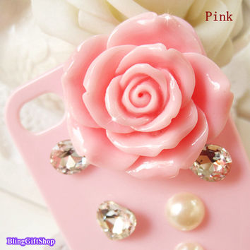 Baby Pink Diamond Bling Hearts Gems Rose, Handmade 3D Iphone 4 case,bowtie iphone 4s Case,Roses Flower Gems, rhinestones iphone case Y015