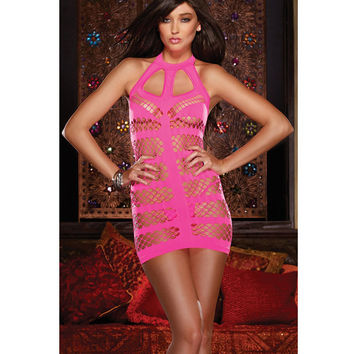 On Sale Hot Deal Cute Stylish Style Dress Hollow Out Sexy Round-neck Sleeveless Exotic Lingerie [6596726659]