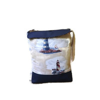 Navy vegan tote bag with lighthouse, vegan leather crossbody