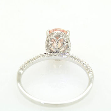 2.24 carat sunset Padparadscha sapphire in a 100 diamond micro paves fine quality setting, engagement ring JOANNA-277PAD