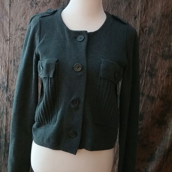 Worthington Sweater Women's Military Style Top Grey Long Sleeve Size M