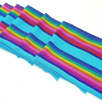 Mexican napkins, bulk set of 6. Assorted colors, Fiesta decor, woven napkins, boho chic linens