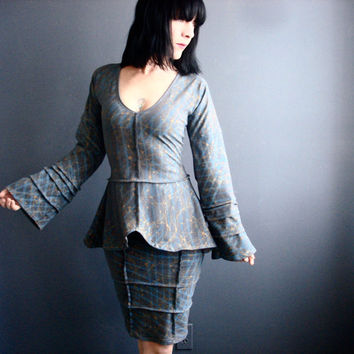 Perpetual Motion - iheartfink Handmade Hand Printed Womens Two Piece Fitted Long Bell Sleeves Gray Jersey Dress Suit