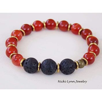Red Agate Lava Rock Essential Oil Aromatherapy Bracelet