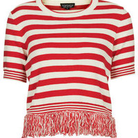Stripe Tassel Top - Red