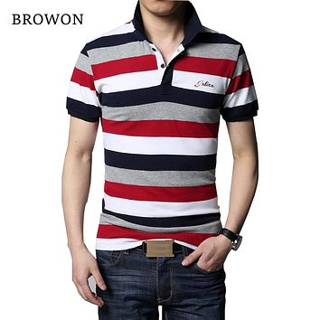 T-shirt Men Stripe Lapel Shirt Slim Fit Men Men's Casual