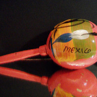Vintage Pink Mexican Maraca Hand Painted Percussion Instrument Mexico Home Decor Cinco De Mayo