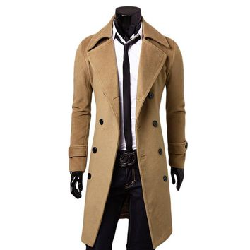 Men's Long Spring Wool Blend Trench Coat | Jacket Long Sleeves  | Where to Buy Cheap Leather Jackets