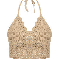 Beige Crochet Bralet Top