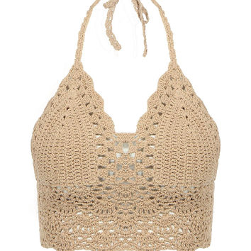 Beige Bralet Top With Crochet Trim From Young Free Clothing