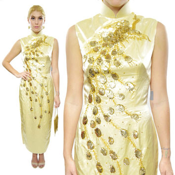 Vintage 70s Asian Kimono-Style Sequined Gold Evening Cocktail Ball Gown Formal Dress