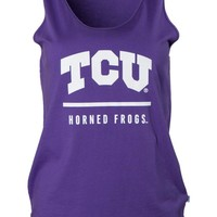 Official NCAA Texas Christian University Horned Frogs TCU Horned Frog FROGS FIGHT! Women's Oversized Boyfriend Tank