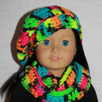 beret style crochet slouch hat, infinity scarf, neon blue,pink, green, orange mix, blacklight, 18 inch doll clothes American girl Maplelea