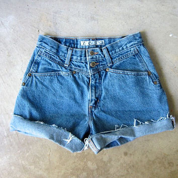 "80s Blue Jean Shorts High Waist Cut Off Denim Shorts Vintage ZENA 1980s MOM Shorts Frayed Hipster Boho Womens Medium 27"" Waist Small Medium"