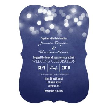 Navy Blue Bokeh Glitter Lights Wedding Invitation