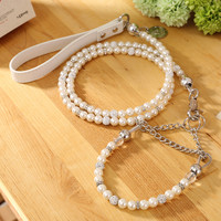 Silver Pearl Pet Collar Leash Set Dog Collar Dog Leash Pet Supplies Dog Collars For Small Dogs