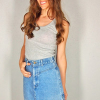 Vintage Jean Skirt, 80s 90s High Waist Faded Denim Wiggle Skirt, pencil skirt, Small XS