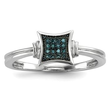 Sterling Silver With White and Blue Diamonds Square Ring