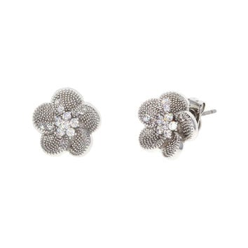 Dear Deer White Gold Plated Floral Flower Petal CZ Pave Stud Earrings