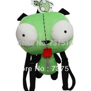 New Alien Invader Zim 3D Eyes Robot Gir Cute Stuffed Plush Backpack Green Bag Xmas Gift