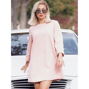 Pink Round Neck Pearl Embellished Tunic Shift Dress
