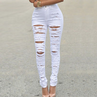 White High Waist Ripped Skinny Jeans