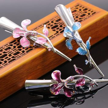 New Fashion Attractive Women Girls Gold Color Colorful Crystal Lily Flower Hair Clip Hairpin Hair Accessories 3colors