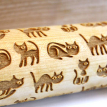 FUNNY CATS Engraved Rolling Pin, Embossing Rolling Pin, Christmas Gift, Pattern Roller, Embossed Dough Roller, Dough Roller, Lazer Engraved