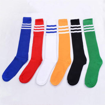Hot 1 Pair Over Knee Ankle Knee-High Women Men Socks Striped Cheerleading Socks Unisex Fashion Accessories Legging Stockings
