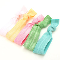 Pastel Fabric Hair Ties (5) - Yoga Hair Ties - No Crease Ponytail - Emi Jay Like Ribbon Hair Bands - Handmade Girl's, Women's Accessories