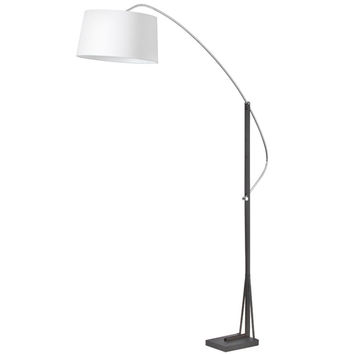 Dainolite 585F-PC-BK Polished Chrome and Matte Black One Light Arc Floor Lamp with White Linen Shade