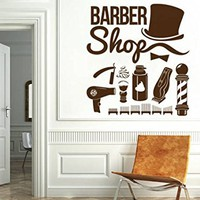 Barber Shop Wall Decal Hairdressing Salon Vinyl Sticker Decals Beauty Haircut Mustache Scissors Men Decor Hair Interior Design Window NV185 (17x19)